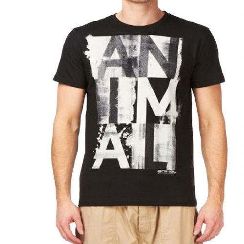 REDUCED.ANIMAL MENS T SHIRT.NEW LOSTWITH BLACK COTTON SHORT SLEEVED CREW TOP TEE